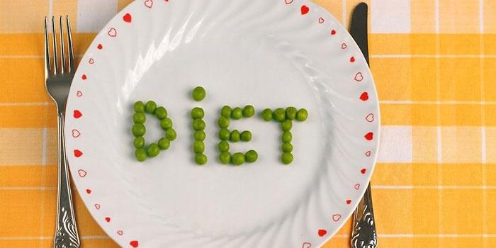 Надпись Диета на тарелке