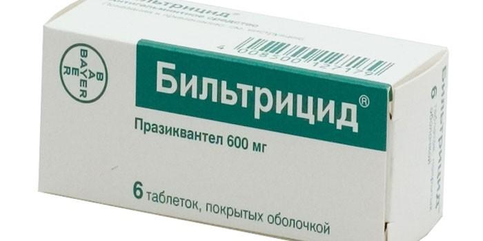 Таблетки Бильтрицид в упаковке