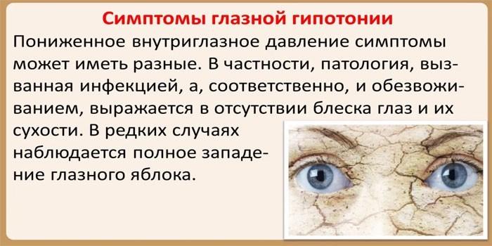 Признаки глазной гипотонии