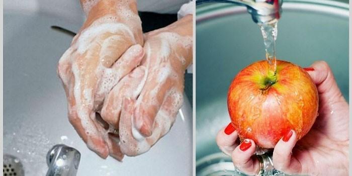Мытье рук и фруктов