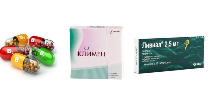 Витамины, препараты Климен и Ливиал