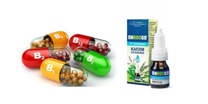 Витамины группы В и капли Пиносол