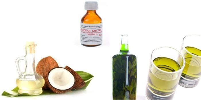 Борная кислота, масло кокоса и настой березовых почек