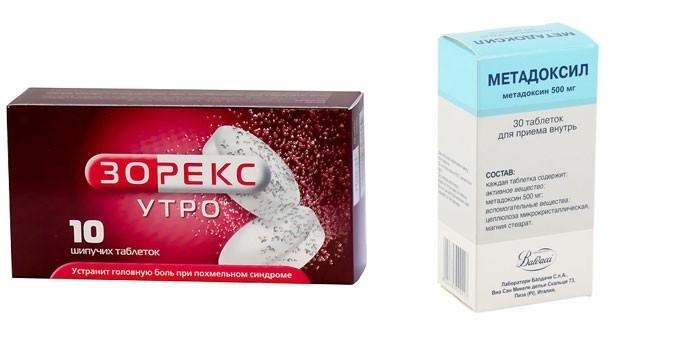Препараты Зорекс утро и Метадоксил