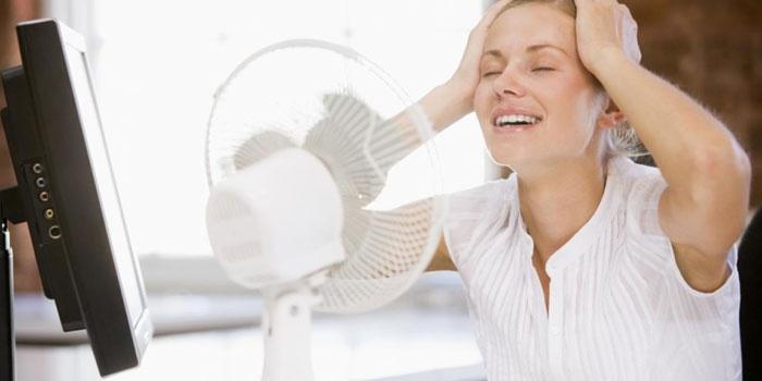 Девушка перед вентилятором