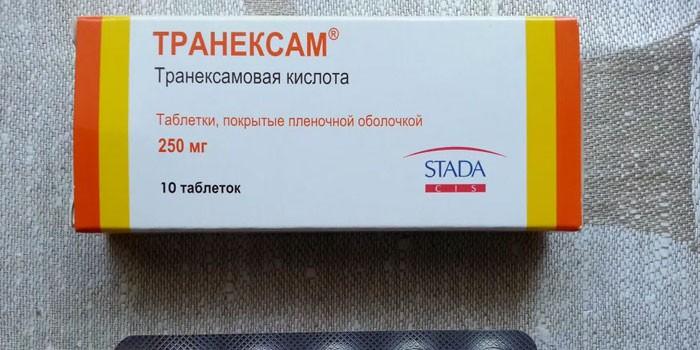 Таблетки Транексам в упаковке