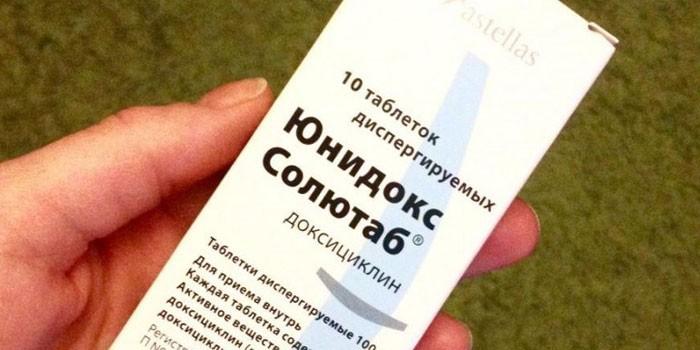 Таблетки Юнидокс Солютаб в упаковке