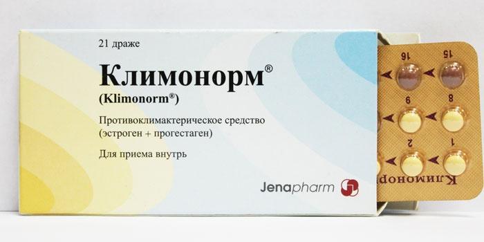 Упаковка таблеток Климонорм с эстрогеном