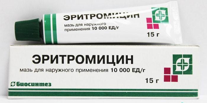 Мазь Эритромицин в упаковке