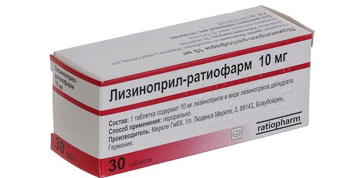 Таблетки Лизиноприл-ратиофарм в упаковке