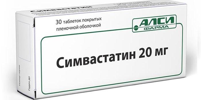 Таблетки Симвастатин в упаковке