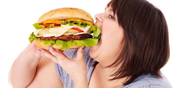 Толстушка кушает гамбургер