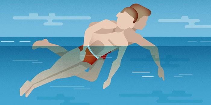 Правильное положение тела при спасении утопающего