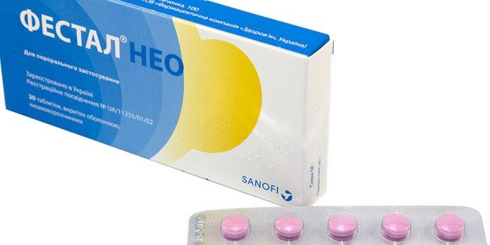 Таблетки Фестал Нео в упаковке