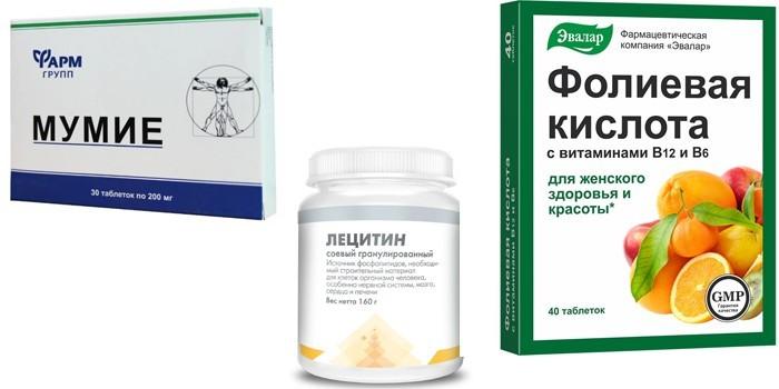 Мумие, Лецитин и Фолиевая кислота