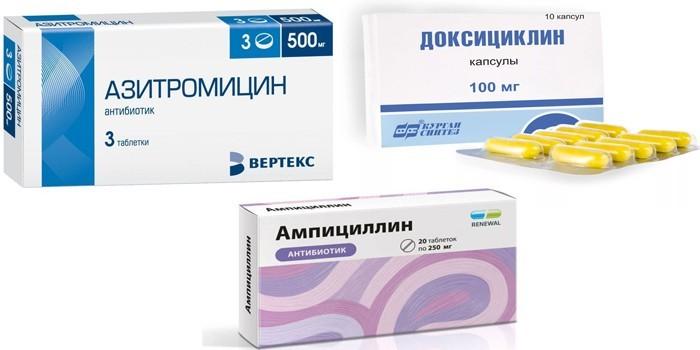 Азитромицин, Доксициклин и Ампициллин