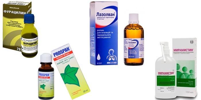 Фурацилин, Проспан, лазолван и Мирамистин