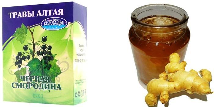 Черная смородина и мед с имбирем