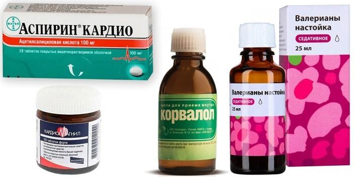 Аспирин, Кардиомагнил, настойка Валерианы и Корвалол