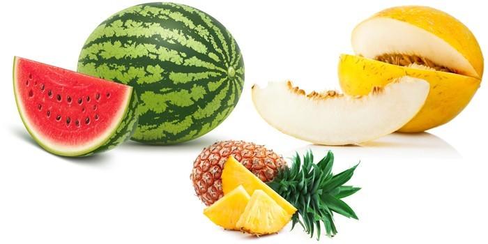 Арбуз, дыня и ананас