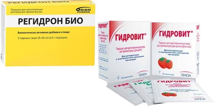 Препараты Регидрон и Гидровит