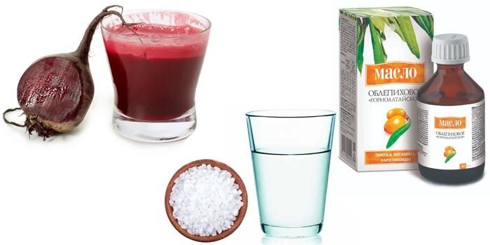Сок свеклы, облепиховое масло и солевой раствор