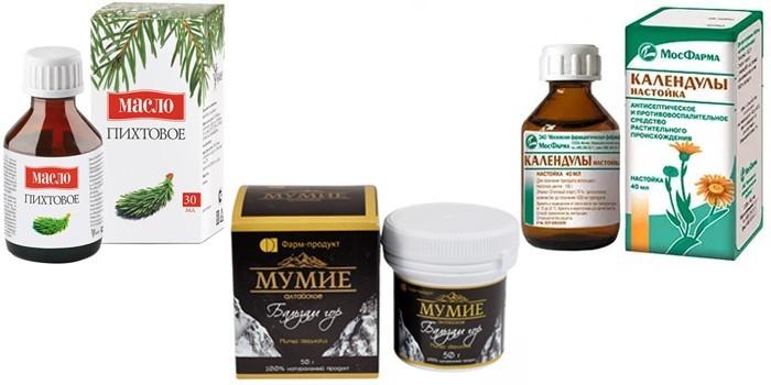 Пихтовое масло, настойка календулы и мумие