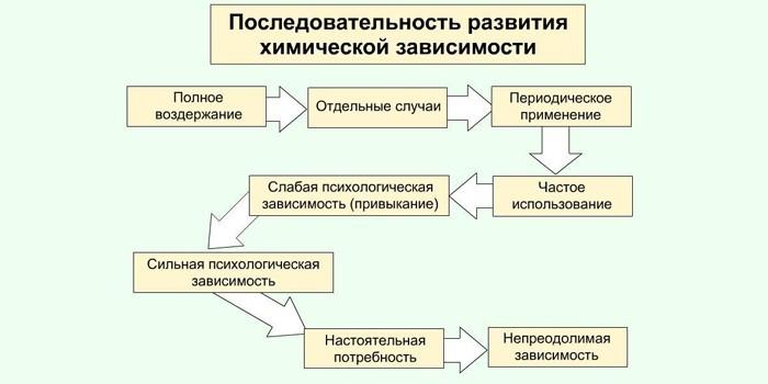 Последовательность развития химической зависимости