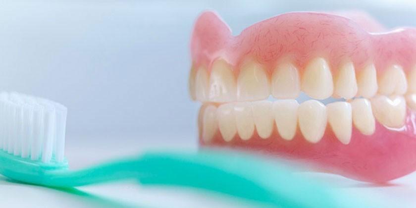 Зубной протез и щетка