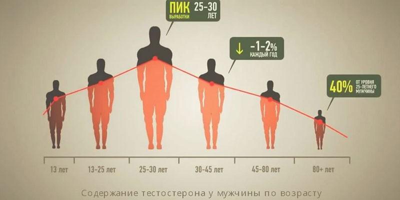 Уровень выработки гормона в организме мужчины в зависимости от возраста