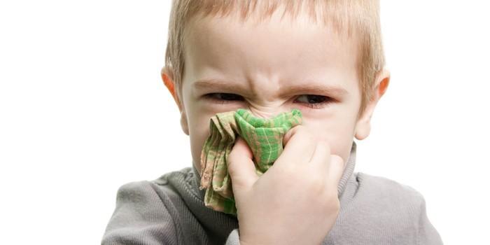 Мальчик прикрывает нос платком