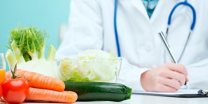 Овощи на столе доктора