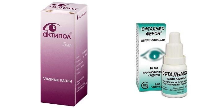 Капли Актипол и Офтальмоферон