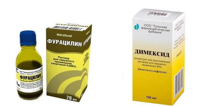 Растворы Фурацилин и Димексид