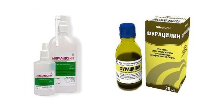 Растворы Мирамистин и Фурацилин