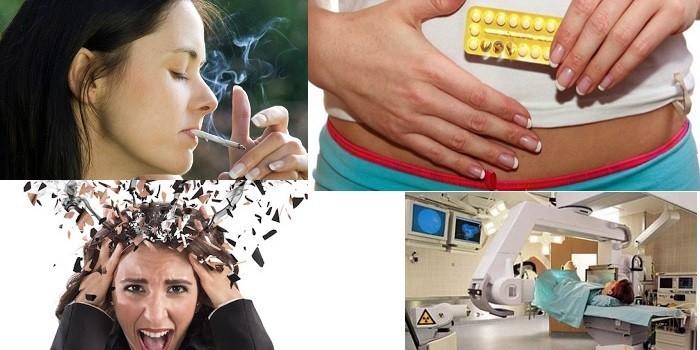 Курение, прием препаратов, стресс и облучение