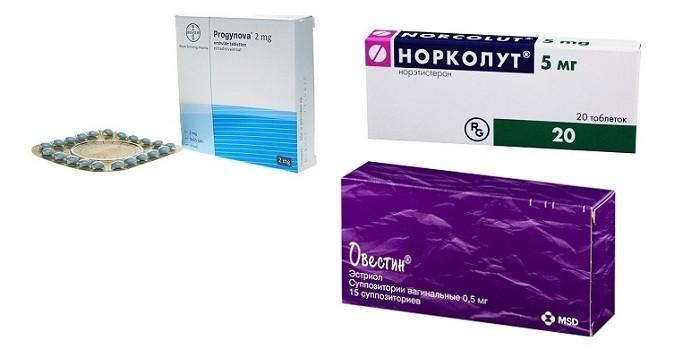Таблетки Прогинова, Норколут и Овестин