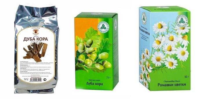 Кора дуба и цветки ромашки в упаковках