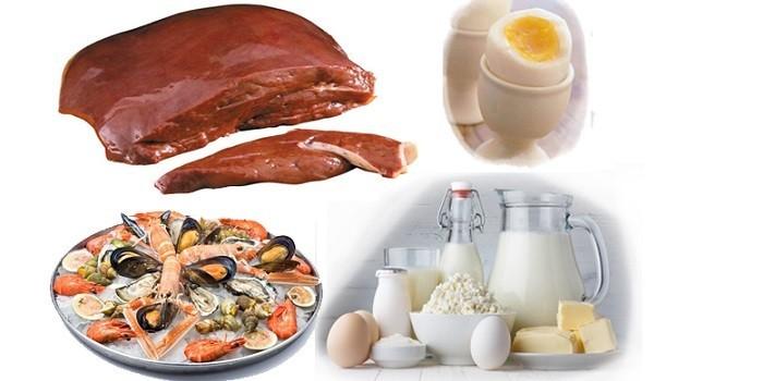 Печень, яйцо, морепродукты и молочные продукты