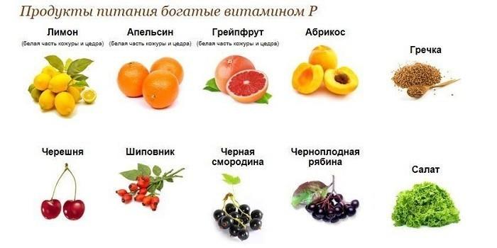 Продукты питания богатые витамином P
