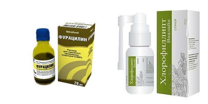 Растворы Фурацилин и Хлорофиллипт