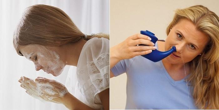 Девушка умывается и промывает нос