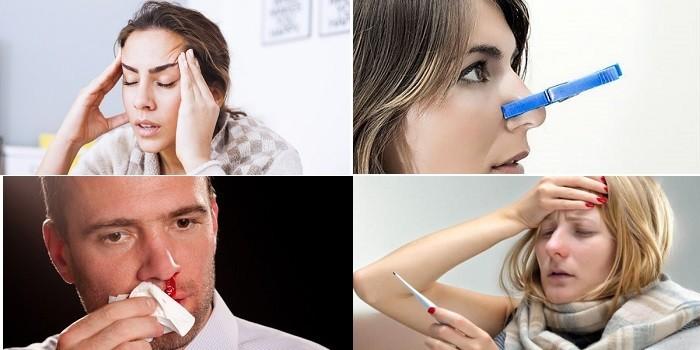 Головная боль, температура, заложенность и кровотечение из носа