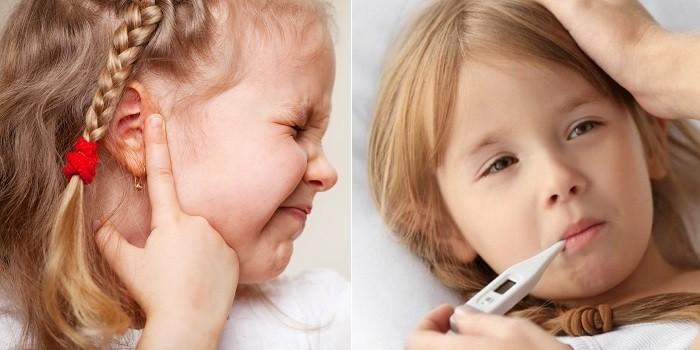 Болевые ощущения в ухе и температура
