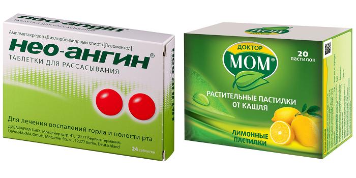 Таблетки для рассасывания Нео-ангин и пастилки Доктор Мом