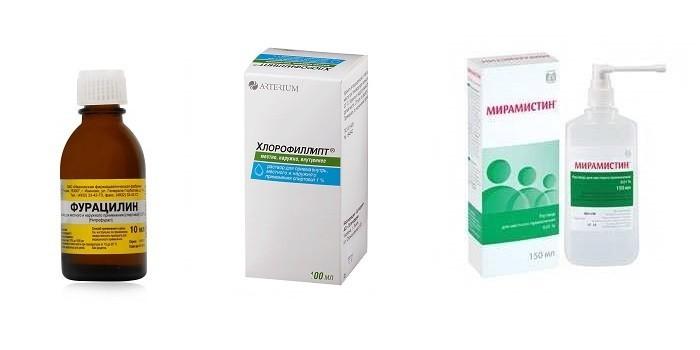 Препараты Фурацилин, Хлорофиллипт и Мирамистин