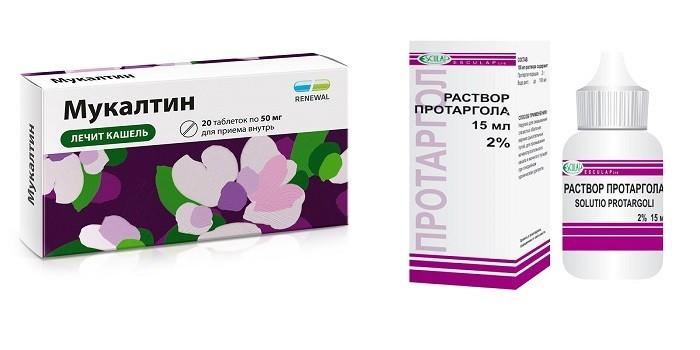 Таблетки Мукалтин и раствор протаргола