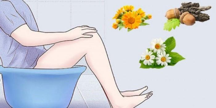 Сидячая ванночка с травяными отварами