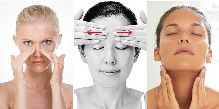 Движения рук при массировании зон лица
