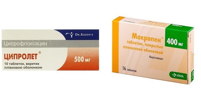 Антибиотики Ципролет и Макропен